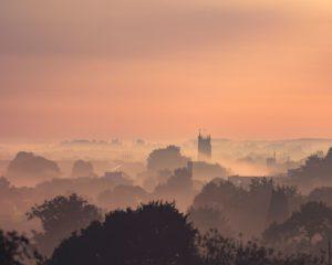 A fine art landscape photography print of a misty sunrise in Taunton, Somerset