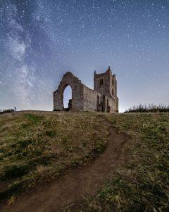 Fine art astrophotography print of the Milky Way behind Burrow Mump in Somerset