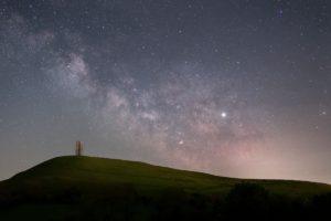 Milky Way Behind Glastonbury Tor Somerset Prints for Sale
