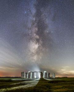 Fine art astrophotography print of the Milky Way Behind Stonehenge, England