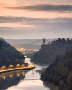 Fine art ciityscape photography print of Clifton Suspension Bridge taken from Sea Wall in Bristol