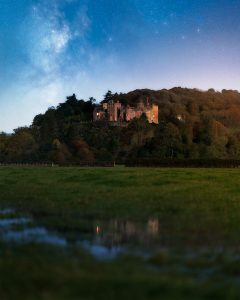 Dunster Castle Moonlit with the Milky Way Behind, Somerset UK