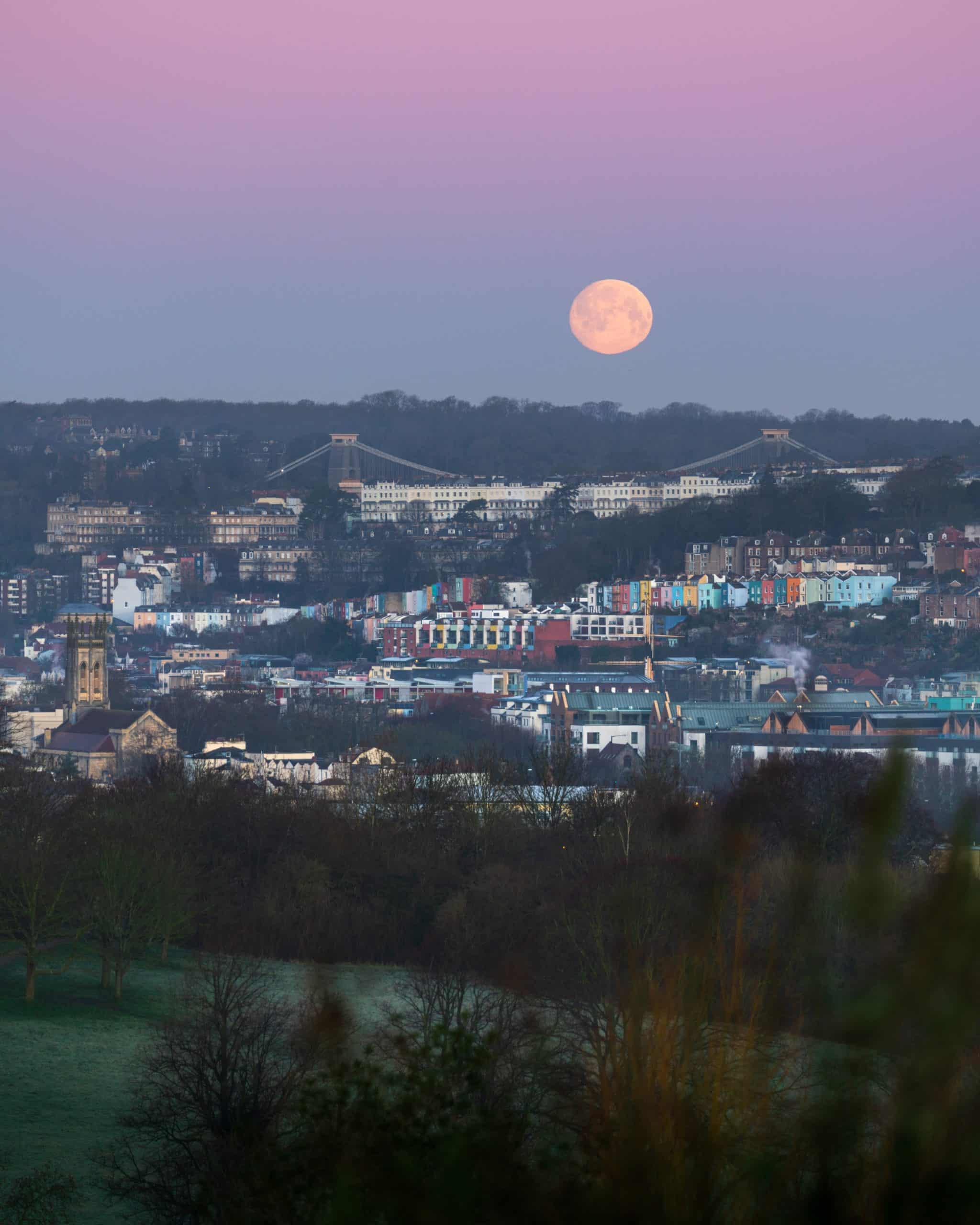 A fine art cityscape print of the full moon from Perrett Park in Bristol