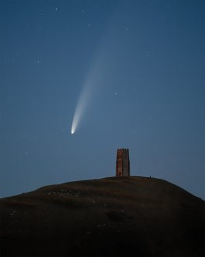A fine art landscape photography print of comet Neowise above Glastonbury Tor in Somerset, UK