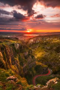Cheddar Gorge in Somerset Stormy Sunset Print