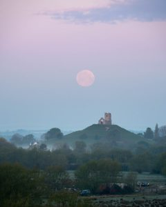 A Fine Art Print of the 2021 Pink Supermoon at Burrow Mump in Somerset
